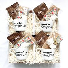 Connected.io company corporate giftboxes, camping theme with personalized mug, hot chocolate and at home s'mores kit