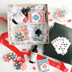 Softchoice company corporate order, casino theme, custom poker chip butter cookies, dillon's bitter, bicycle deck of cards and personalized whiskey glass with a spade design