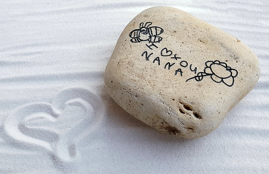 Children's Artwork - Mother's Day Gift - Gift for Grandma - Actual Child's Art Rock - Your Child's Art Engraved -  God Rocks