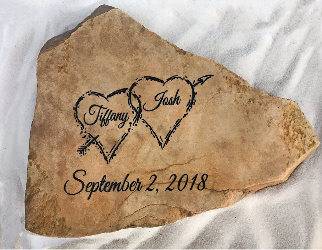 Personalized Gift Custom Engraved Heart Stone | Wedding Gift | Engagement Gift | Anniversary Gift | House Warming Gift | God Rocks®