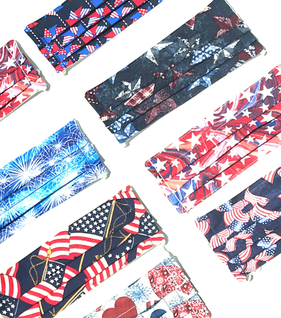 Patriotic Face Mask with Pocket, USA Washable Face Mask, Reusable, Pleated Face Mask, 4th of July Face Mask, Stars Face Mask, God Rocks