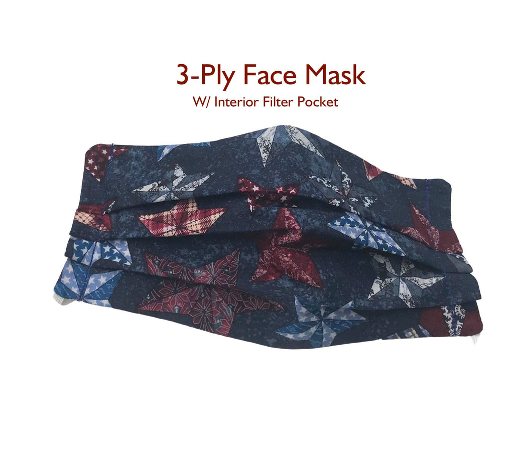 Deep Blue Patriotic Stars Face Mask with Filter Pocket, 3 Ply Washable Face Mask, Reusable, Pleated Face Mask, USA Fabric, God Rocks
