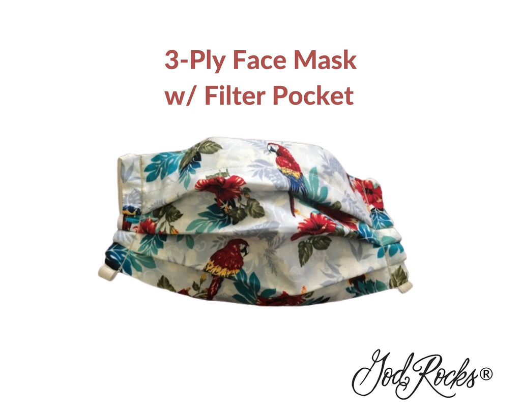 Tropical Parrot Mask with Filter Pocket, Washable, Reusable, Pleated Face Mask Nose Bridge Piece, 3 Ply Face Mask, God Rocks, Bird Facemask
