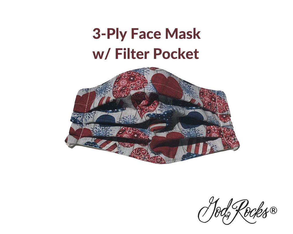 Patriotic Hearts Face Mask with Pocket, USA Washable Face Mask, Reusable, Pleated Face Mask, Patriotic Hearts Face Mask, Facemask, God Rocks