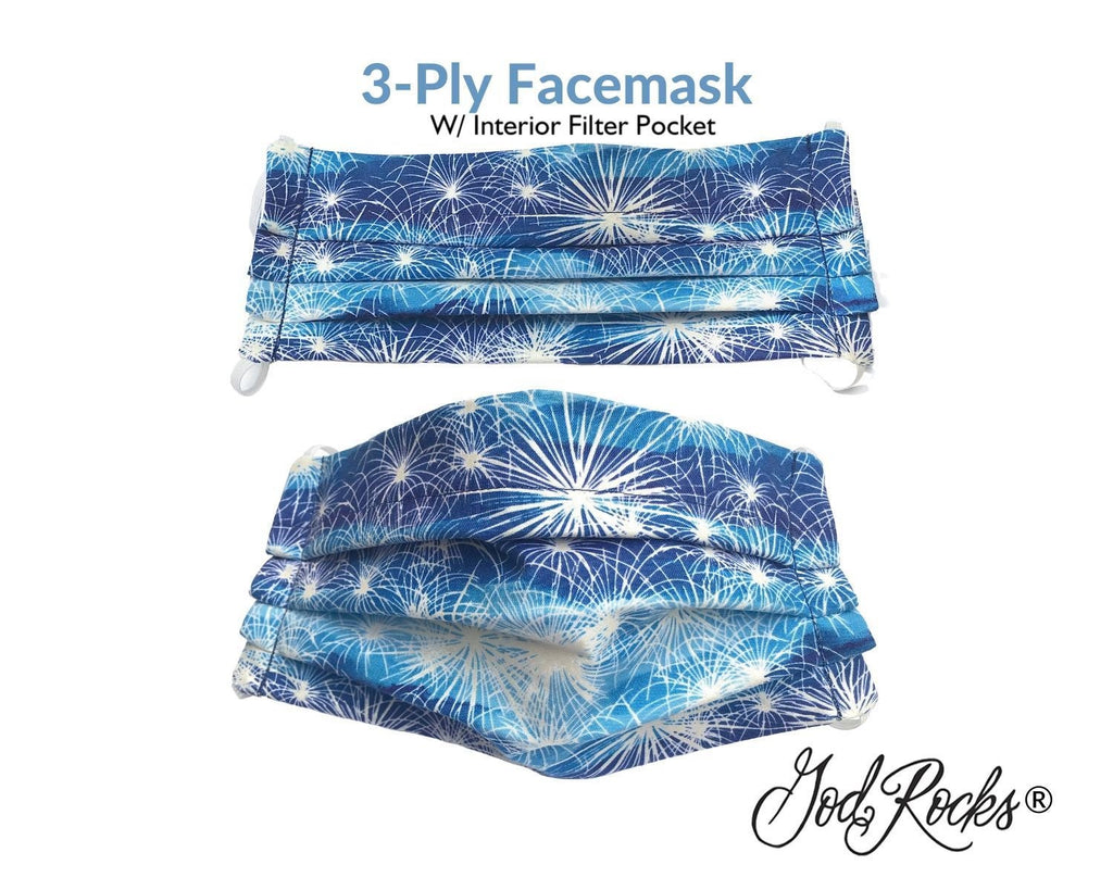 Patriotic Face Mask with Pocket, USA Washable Face Mask, Reusable, Pleated Face Mask, 4th of July Face Mask, Fireworks Face Mask, God Rocks