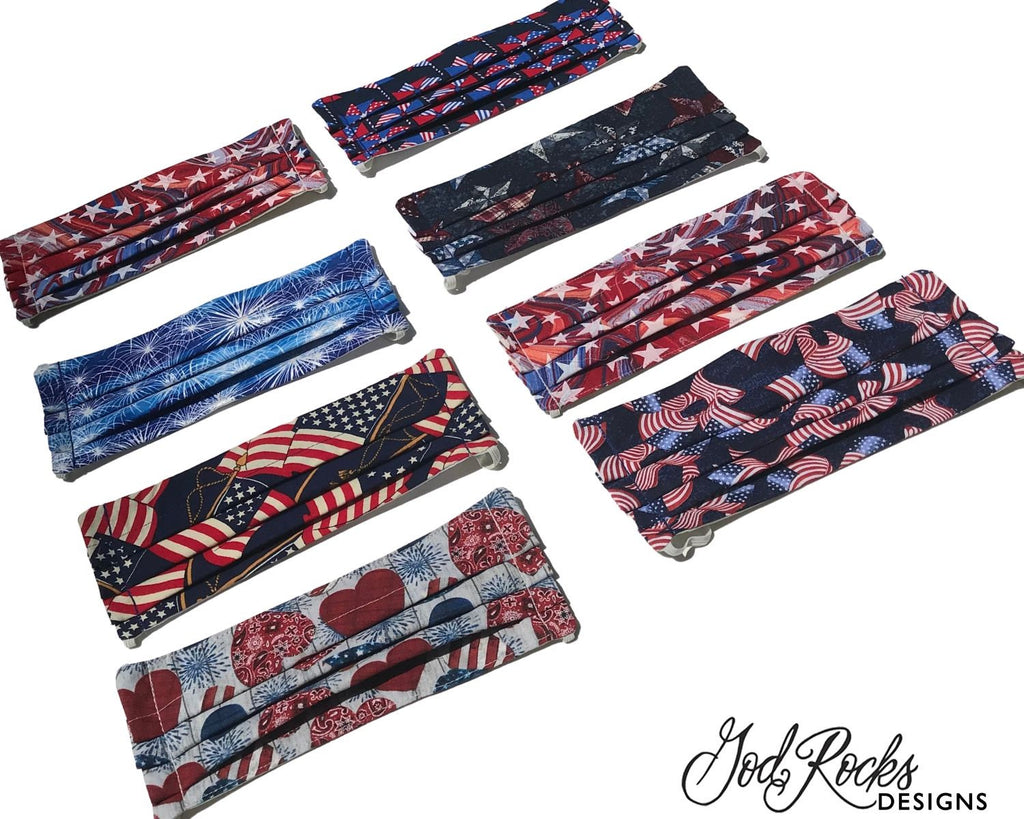 Patriotic Stars Face Mask | Fitted-3 Ply-100% Cotton-Adjustable Nose Wire-Interior Filter Pocket-Adjustable Straps
