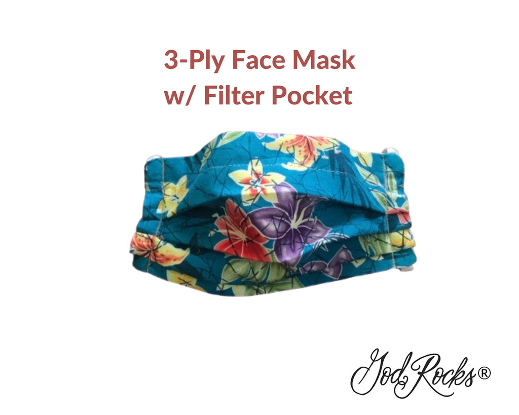 Plumeria Floral Mask with Filter Pocket, Washable, Reusable, Pleated Face Mask Nose Bridge Piece, 3 Ply Face Mask, God Rocks, Hawaiian