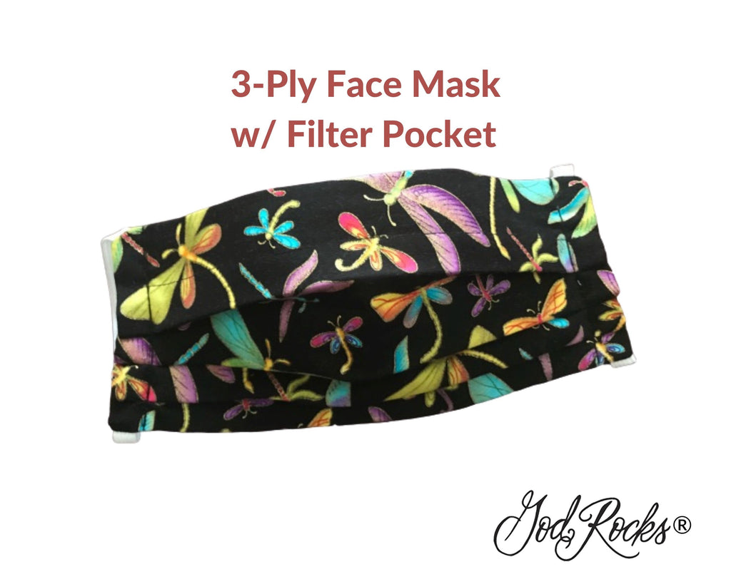 Pleated 3 Ply Cotton Reusable Adjustable Face Mask