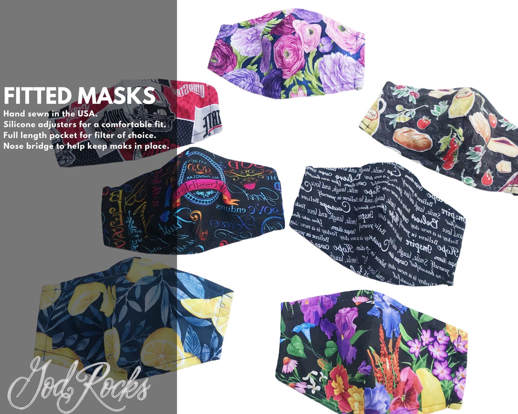 With God Fitted Face Mask, Nose Bridge Filter Pocket Adjustable Reusable Face Covering, God Rocks Designs