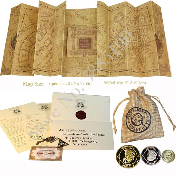 The Marauder's Map Harried Magic School Acceptance Letter Express Ticket Deathly Hallows Necklace Gringot Bank Coins and Bag