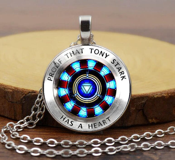 Iron man, Tony Stark Tibet silver Glass Dome Necklace Chain