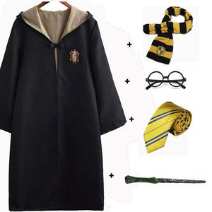 Halloween  Cosplay Costume Kids Adult Gryffindor Robe Ravenclaw Hufflepuff Slytherin Cloak Robe Tie Scarf Wand