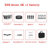 E68 Drone HD wide angle 4K WIFI 1080P FPV Drones video live Recording Quadcopter Height To maintain Drone CameraVS e58 Dron Toys