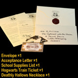Potters The Marauder's Map Harried Hogwart Acceptance Letter Express Ticket Deathly Hallows Necklace Gringott Bank Coins and Bag