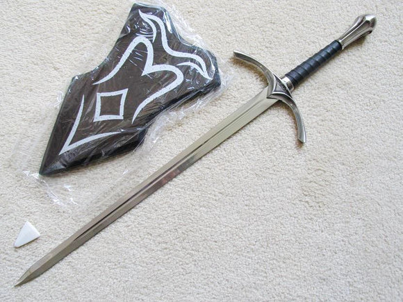 S4873 MOVIE LORD OF THE RINGS HOBBIT GLAMDRING GANDALF SWORD W/ WALL PLAQUE 26
