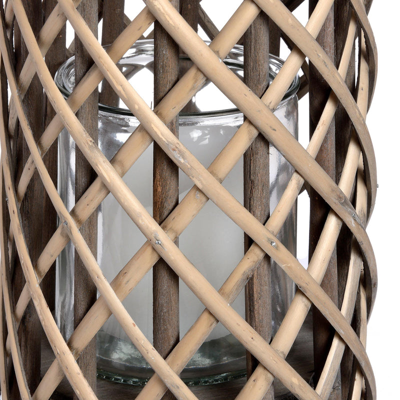Large Wicker Lantern with Glass Hurricane