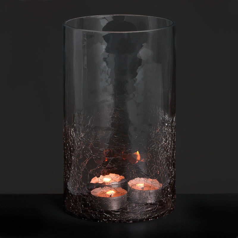 Small Smoked Crackle Effect Candle Holder