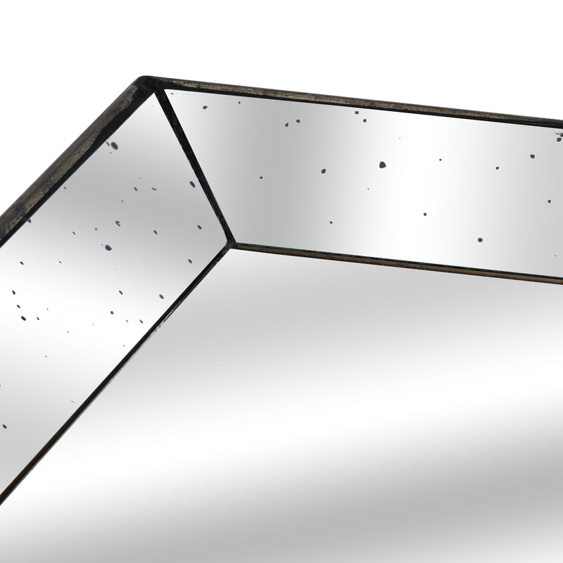 Astor Distressed Mirrored Square Tray W/Wooden Detailing Lge