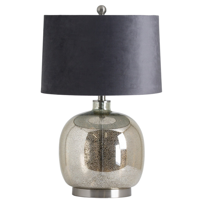 Isla Mirrored Glass Round Table Lamp With Velvet Shade