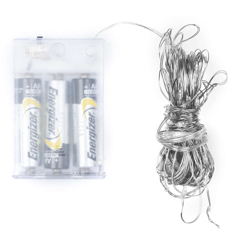 100 LED Battery Micro Lights Silver Wire