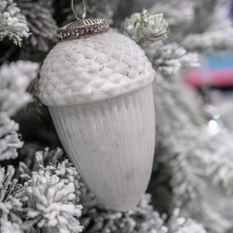 The Noel Collection Large White Hanging Acorn Decoration