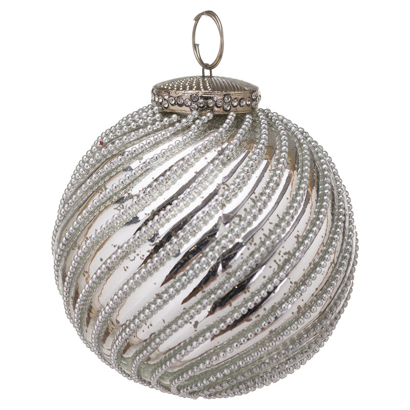 The Noel Collection Silver Jewel Swirl Small Bauble