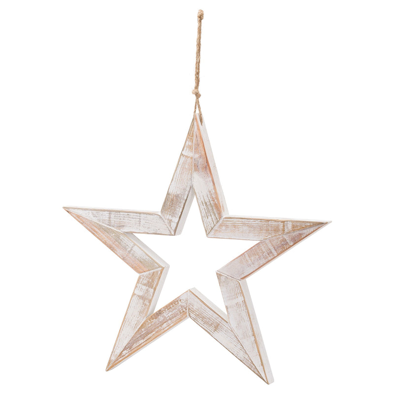 Large Antique White Wooden Sparkle Star