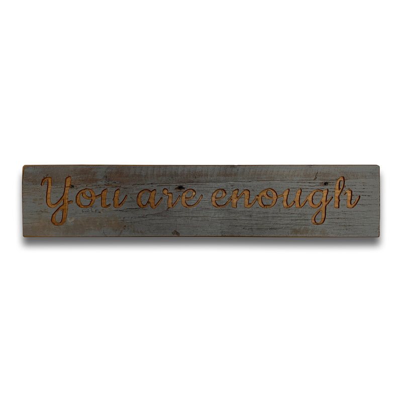 Enough Grey Wash Wooden Message Plaque