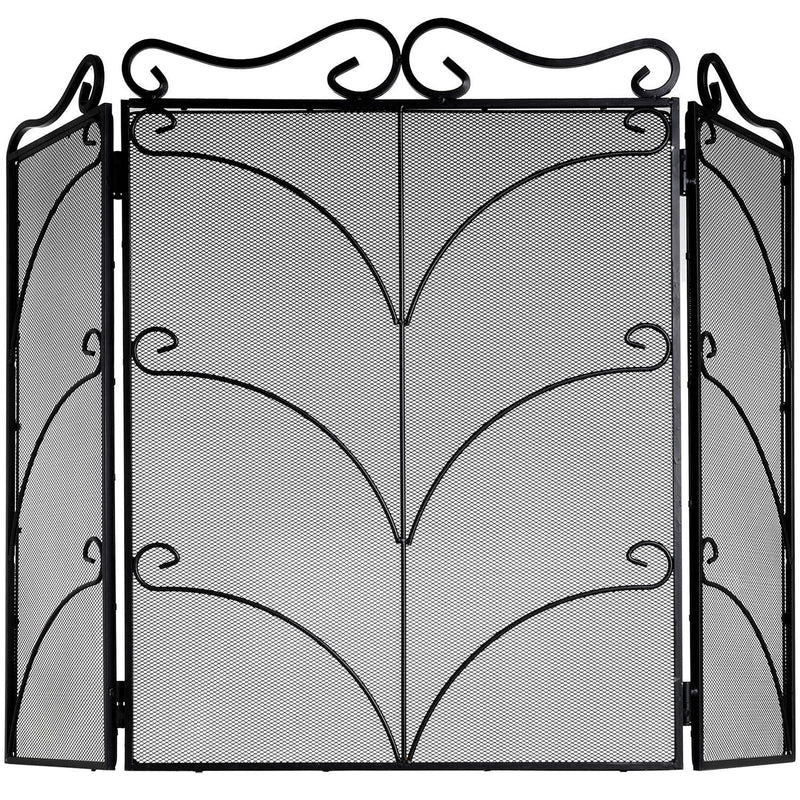 Heavy Large Black Ornate Fire Screen