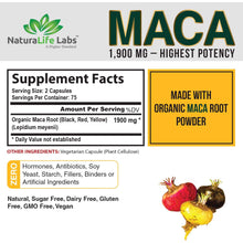 Load image into Gallery viewer, Organic Maca Root Black, Red, Yellow 1900 MG per Serving - 150 Vegan Capsules Peruvian Maca Root Gelatinized 100% Pure Non-GMO