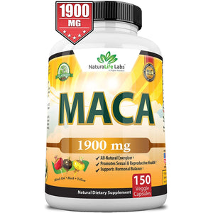 Organic Maca Root Black, Red, Yellow 1900 MG per Serving - 150 Vegan Capsules Peruvian Maca Root Gelatinized 100% Pure Non-GMO