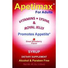 Load image into Gallery viewer, Apetimax Vitamins Lysine Royal Jelly Promotes Appetite Syrup for Adults 4 oz