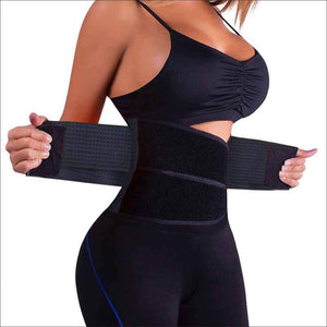 Waist Trainer Belt Body Shaper Belly Wrap Trimmer Slimmer Compression Band for Weight Loss Workout Fitness - Black / Small