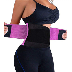Waist Trainer Belt Body Shaper Belly Wrap Trimmer Slimmer Compression Band for Weight Loss Workout Fitness - Purple / Small