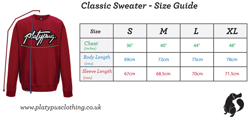 Platypus UK classic sweater size guide