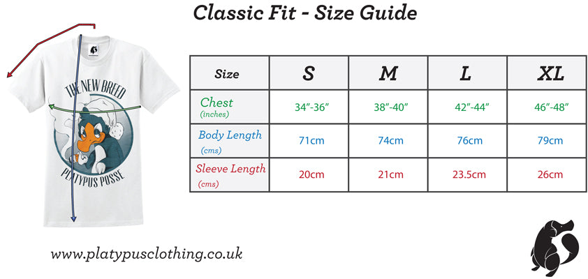 Platypus UK classic tshirt size guide