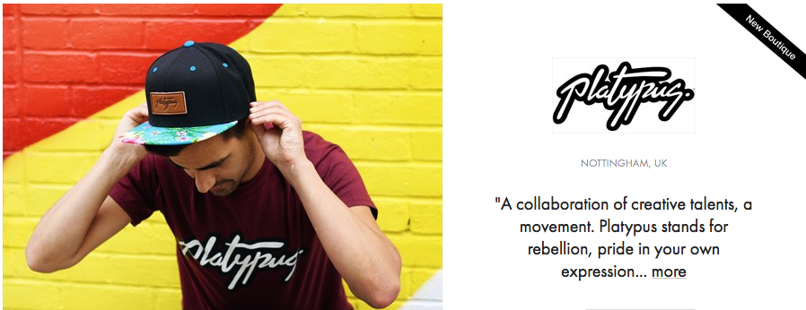 Platypus UK Streetwear Brand Banner on ASOS