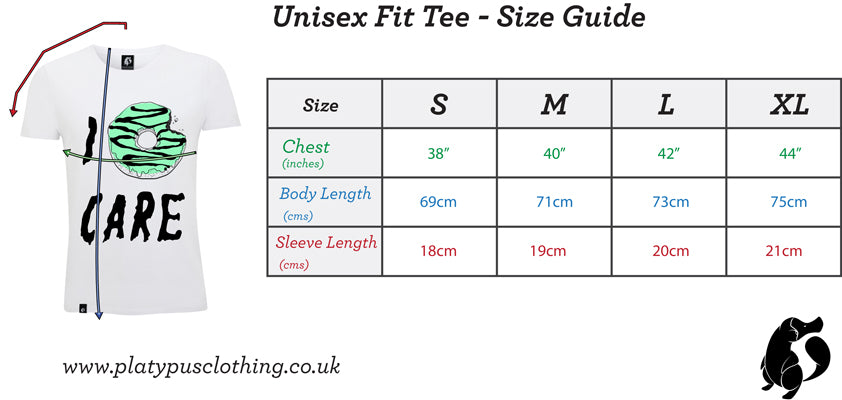 Platypus UK Unisex fit tshirt size guide