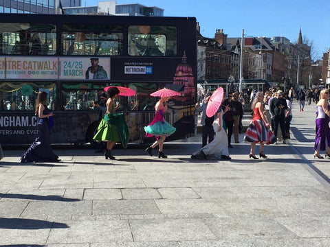Nottingham independents fashion parade moving through market square