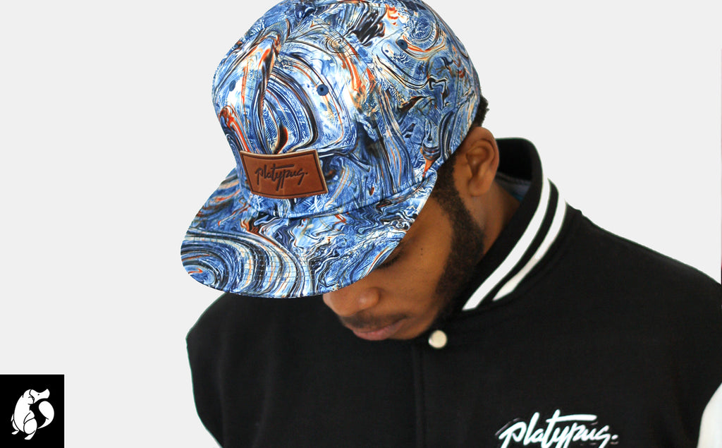 Platypus branded Steetwear | Marble pattern snapback hat alternative