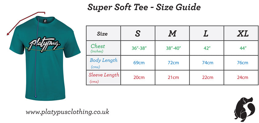 Platypus UK super soft tshirt size guide