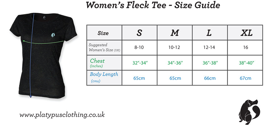 Platypus UK Womens fleck tshirt size guide