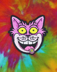 We're All Mad Here Cheshire Cat with Acid Tab Iron on Patch Tie Dye | Best Streetwear Patches UK
