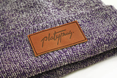 Close up of leather patch on antique purple Knit Beanie hat | Platypus streetwear clothing with Free UK shipping