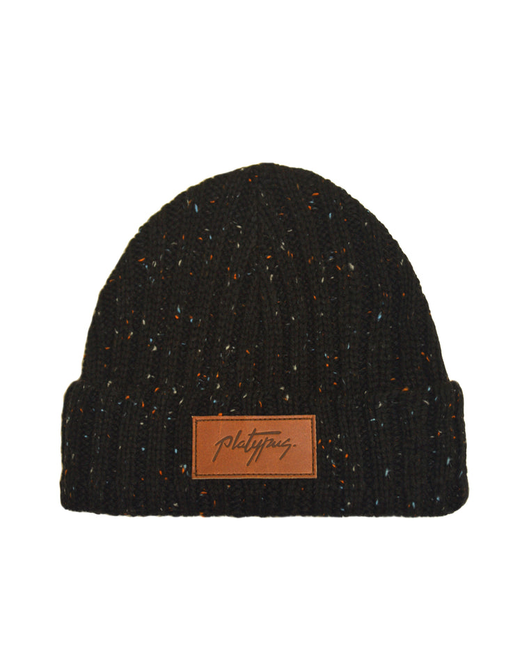 Black Speckle Knit Beanie Hat