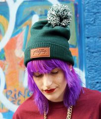 Model Image Big Bobble Forest Beanie