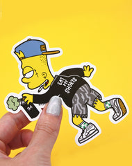 Hypebeast Bart Simpson parody Eat my shorts vinyl decal sticker to scale uk