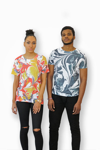 Multi-colour Marble Unisex T-shirt