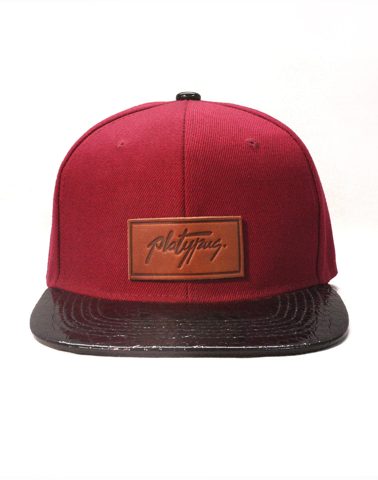 Burgundy and Snakeskin Style Snapback