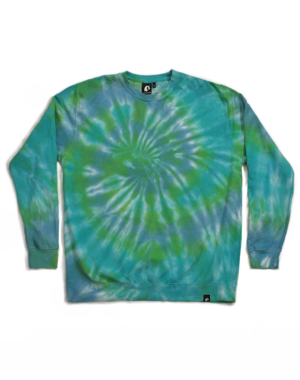 Tie Dye Multi Blue and Green Spiral Sweatshirt - Size XL